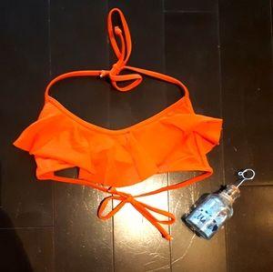 👙Ruffled bright orange bikini top EUC👙